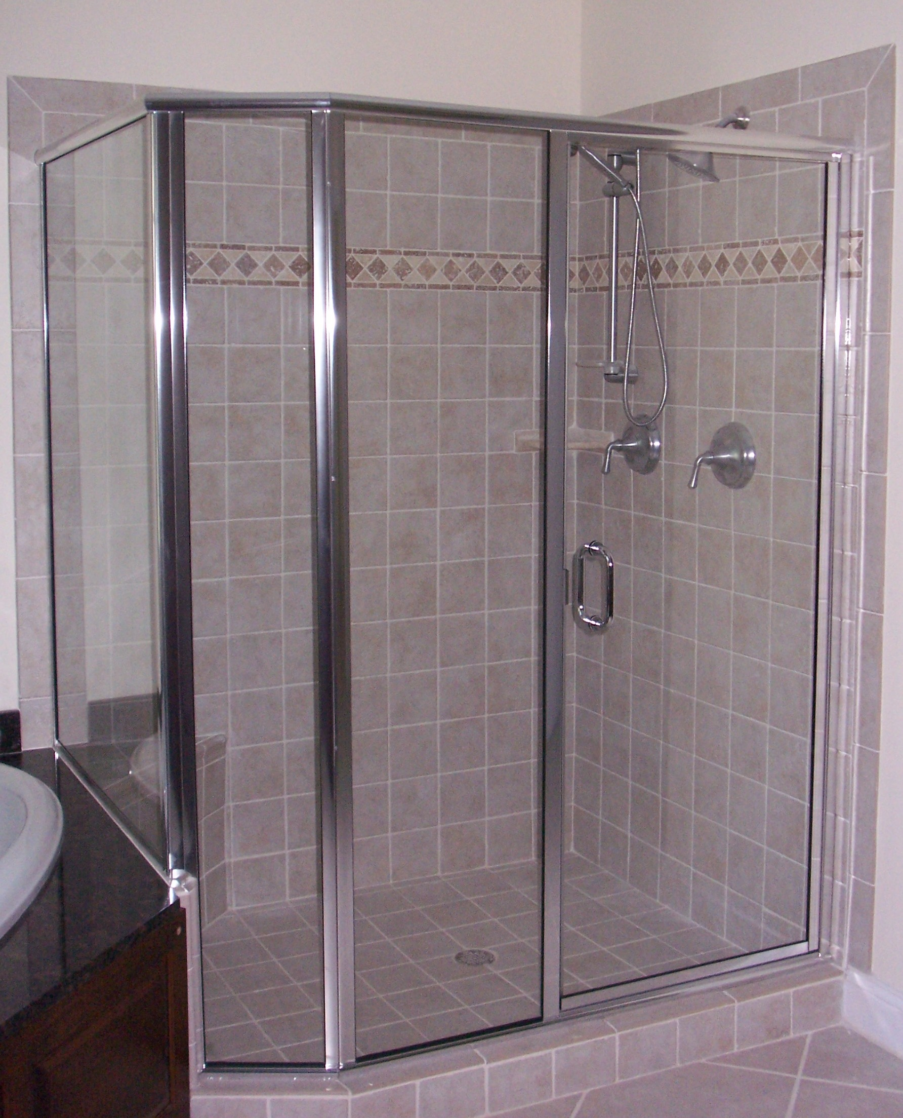 Framed semi frameless shower door king shower door installations framed door panel neo planetlyrics Gallery