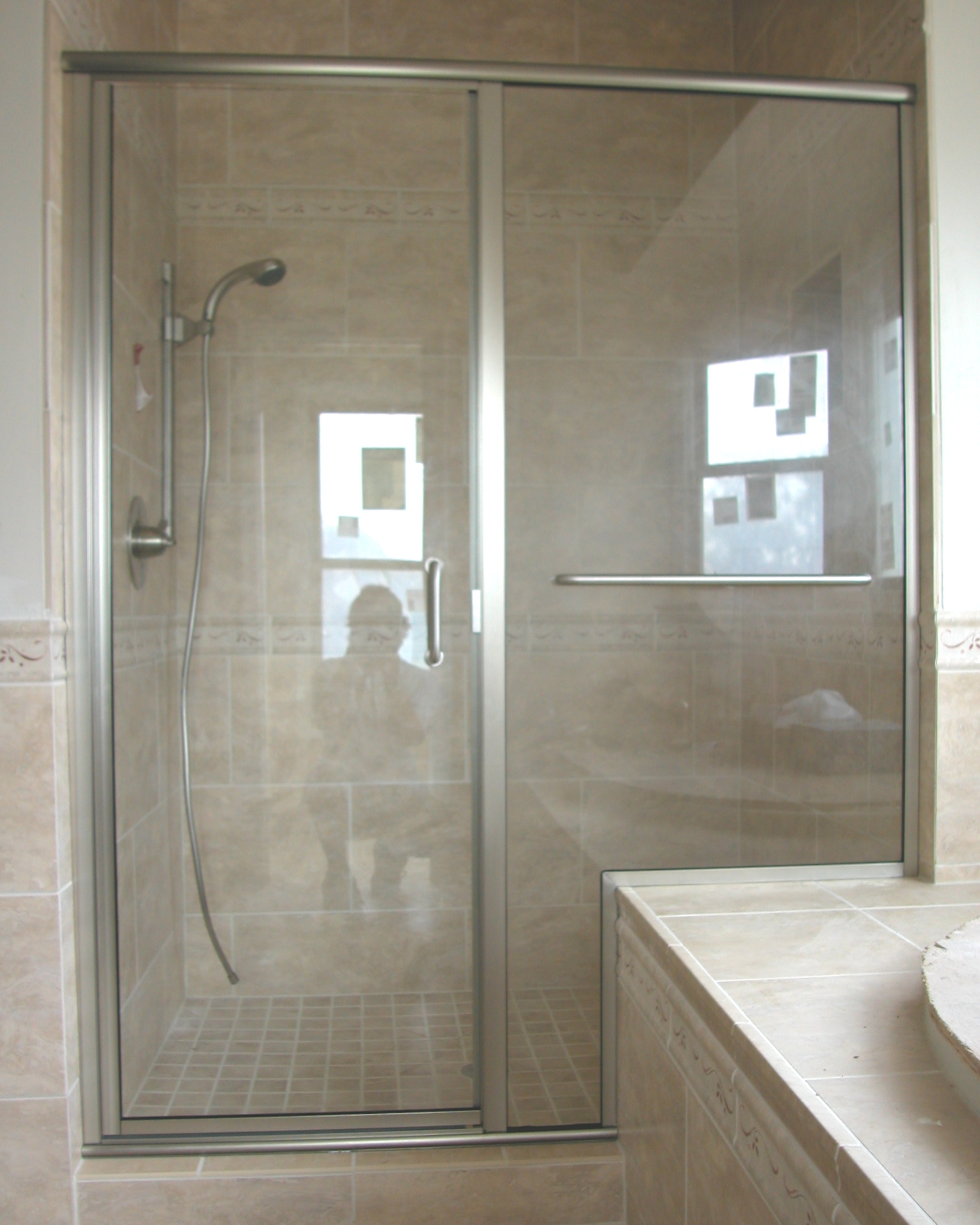 Framed semi frameless shower door king shower door installations semi frameless door panel satin nickel hardware 14 clear glass planetlyrics Gallery