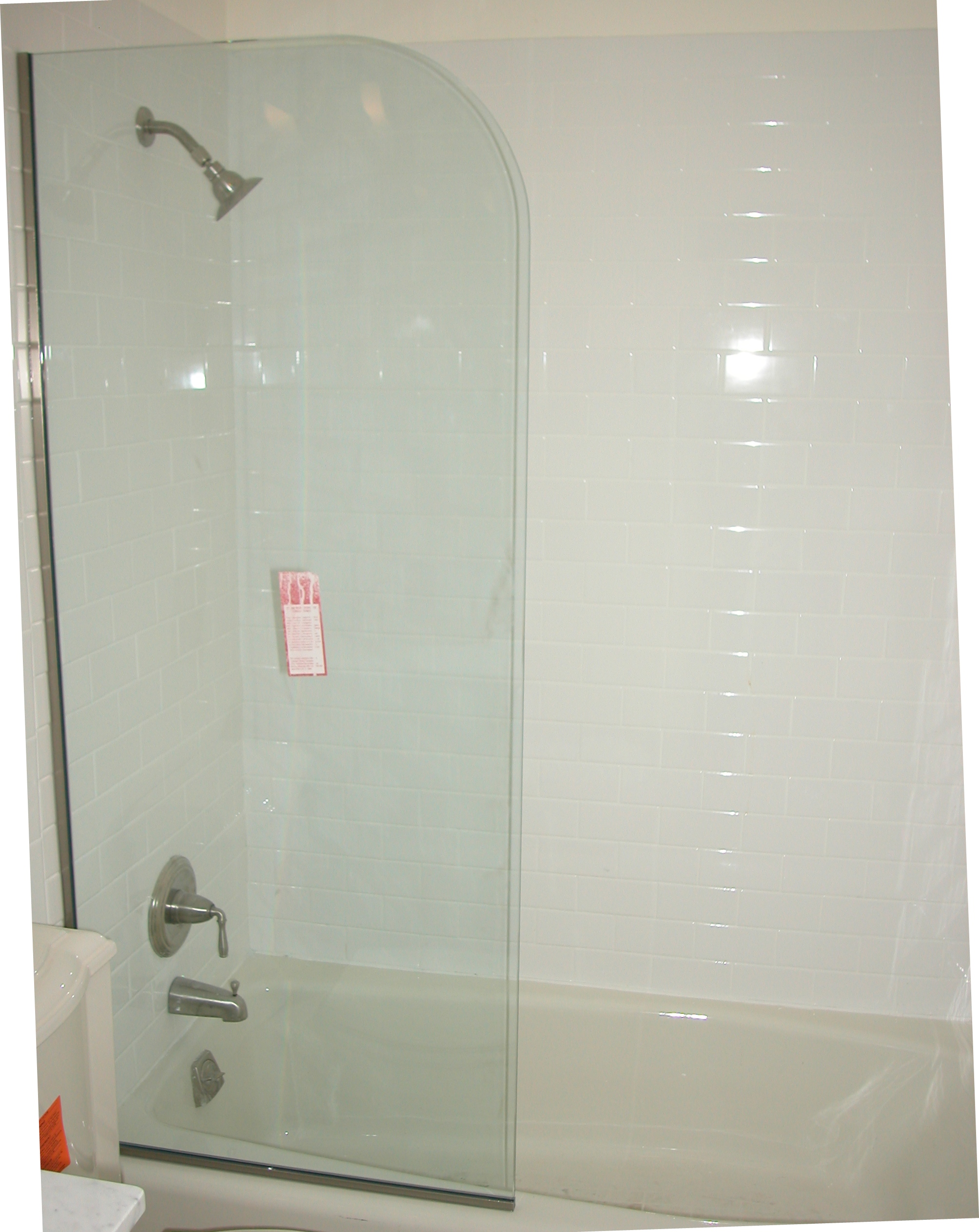 Spray panel shower door king shower door installations spray panel satin nickel hardware 38 clear glass 2 planetlyrics Gallery