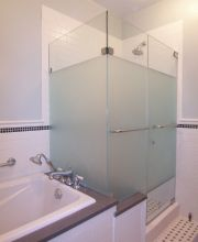 Frameless Door Panel Return with Acid Etched Privacy Screen
