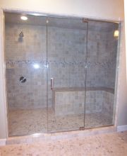 Frameless Panel Door Panel Half Inch Glass Steam Unit