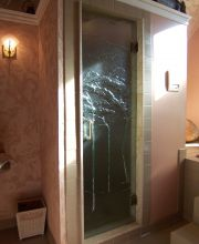 Frameless Shower Door with Custom Cast Glass
